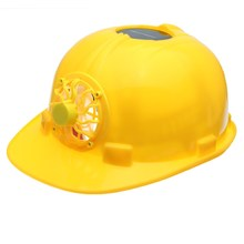 NEW Yellow Solar Power Safety Helmet Work Hard Hat Solar Panel Cooling Fan Workplace Safety