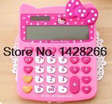2016 Hello Kitty New Brand Cute Office Electronic Calculator Women Girl Computer Calculating Solar Powered Desktop Calculadoras