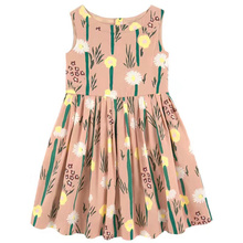 2017 Summer Daisy Pattern Printed Baby Girls O Dress Sleeveless Party Dress for Girls Fashion Clothes Beach Dresses