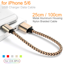 High Quality Metal Heads Nylon Braided 8Pin USB Data Sync Charging Cable For Apple iPhone 5 5s 6 6s Plus SE Wire 25cm 100cm