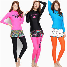 Gsou womens surf wear Three Pieces rash guard Sets Surfing Wetsuit women surf shirt Long Sleeve Quick Dry Spearfishing Swimsuits