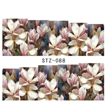 1sheets Full Cover Tips Nails Beauty Flowers Nail Art Decals Foils Wraps Nail Water Transfer Stickers Manicure Accessory STZ088