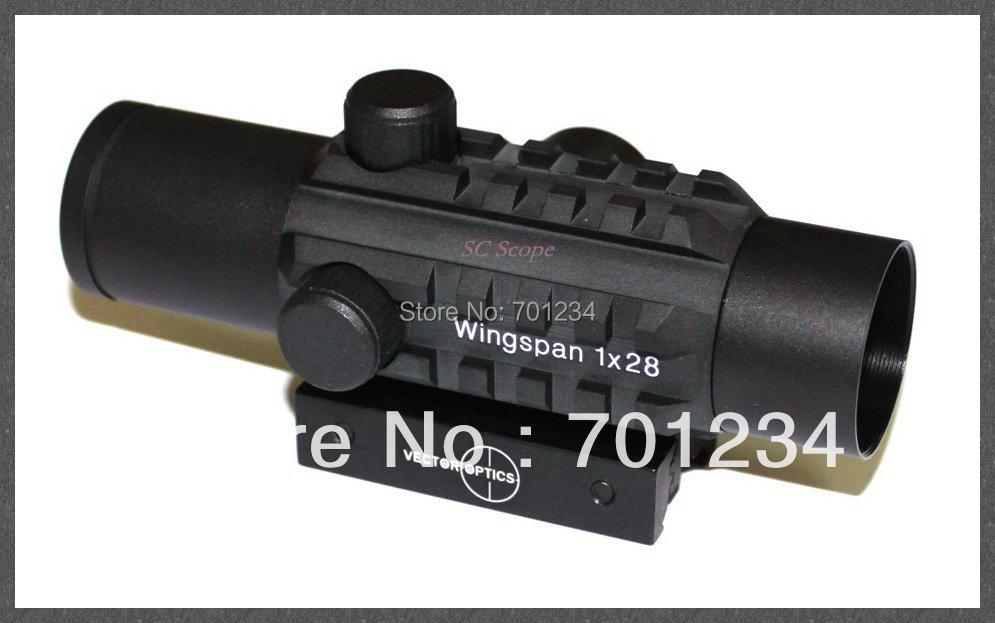 Vector Optical Wingspan 1x28 Red Dot Rifle Scope Sight with Tri Rails for 20mm Rail Hunting use<br>