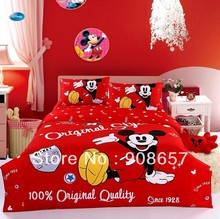 Red Mickey Mouse Print Twin Full Queen Children's Cotton Home Textile Boys Girls Quilt Duvet Covers 4-5Pc Bed Linen Bedding Sets