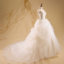 Cheap Real Pictures Scoop Neck Beading Lace Ruffle Organza Long Wedding Dress Bridal Gown(China)