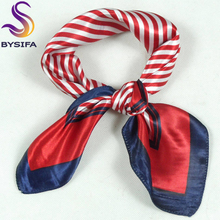 [BYSIFA]  Small Silk scarves For Women,52*52cm Ladies's Polyester Red Striped Brand Professional Satin Square Scarf Printed