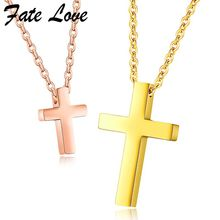 2017 Couple Lovers Necklaces Stainless Steel Jewelry Collier Jesus Cross Pendant Necklace Gold Rose Gold Color Jewellery Colar(China)