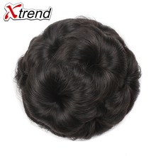 Xtrend 3PCS Women Natural Curly Chignon Clip in Elastic Fake Hair Bun Updo Hairpiece Accessories 9Flowers High Temperature Fiber(China)