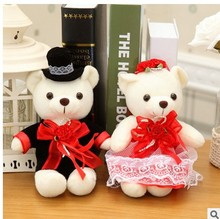 Free shipping 33cm Couple lover  wedding bear 1 pair stuffed animals Bears toy in wedding dress wedding Valentine's Day Gif