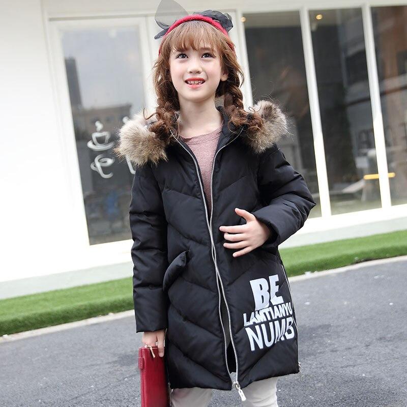 -30 Degrees Girls Winter Down Jacket 2017 New Children s  Duck Down Kids Outerwears Big Wool Collar Warm Baby Coats 6-13YОдежда и ак�е��уары<br><br><br>Aliexpress