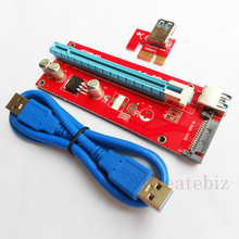 100PCS/Lots VER 007S Red board Card sata 15pin power PCI Express Riser Card PCI-E 1x to 16x extender 60cm USB 3.0 data Cable(China)