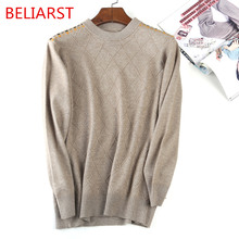 BELIARST 18 Spring and Autumn New Men's Round Neck Pullovers Fashion Warm Diamond Checkered Plaid Cashmere Wool Sweater(China)