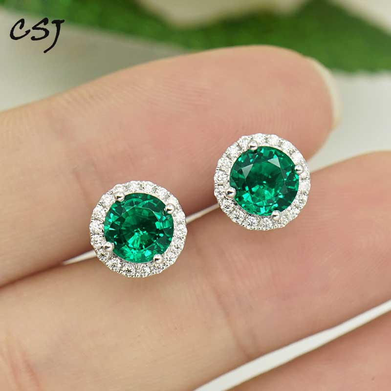 Solid 14K White Gold Round Genuine Emerald May Stud Earrings 5mm 6mm 7mm 8mm