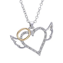 2017 new fashion design silver crystal heart pendant necklaces angel wing rhinestone women necklaces(China)