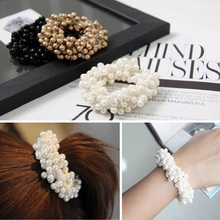 Fashion Women Crystal Pearls Rhinestone Hair Band Rope Ponytail HoldeHair Accessories Headwear For Women Elastic Hairbands(China)