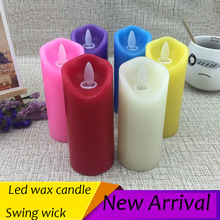 battery operated led wax candle /different color option/ swing light for wedding party/ holiday/birthday party candle
