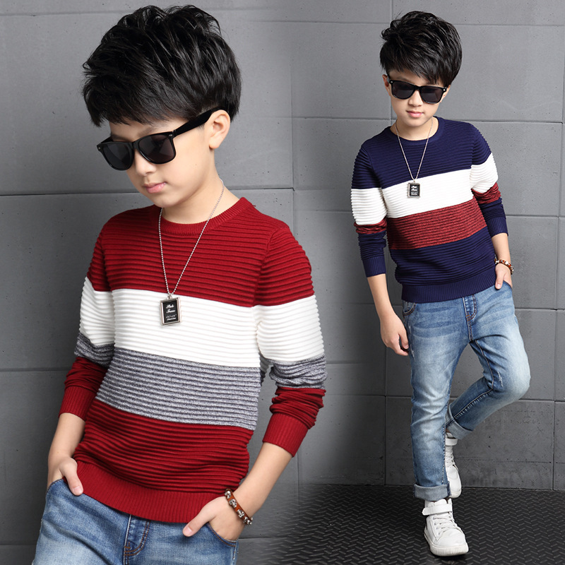 Newborn child autumn clothes wide stripe sleeve knit sweater with top fashionable teenage boys sweater WER19<br><br>Aliexpress