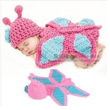 BH4 Promotion Cute Toddler hand-woven Costume Baby's butterfly wool caps Knit Crochet baby hat Suit Photo Prop Free Shipping