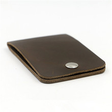 ALAVCHNV two layers of mad horse skin ultra thin women's bus card sets of credit button card package male nnkb001