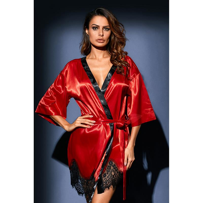 Dreszdi Sexy Red Women Nightwear Cardigan Tops Half Sleeve Blue Scalloped Kimono Blouse Black Satin Lace blusa feminina (2)