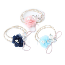 Fashion Women Girls Hair Band Jewelry Accessories Elastic Rubber Bands Headdress Crystal Bead Lace Flowers Decorations Headband