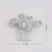 Vintage Inspired silver Crystal Flower Hair Comb / Bridesmaid