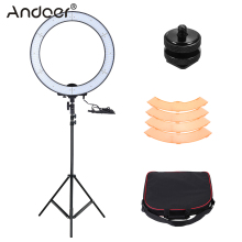 Andoer LA-650D Selfie LED Ring Light Kit 5500K 600 Beads Fill-in LED Video Light with Light Stand Color Filter Mount Adapter