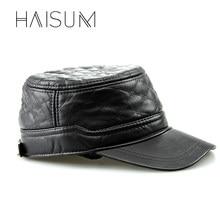 ¡2018 Real Gorras invierno sombreros militares Haisum Cool! Hombres Pu  plana sombrero ajustable con ba595d6915f