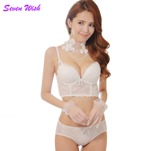 Buy Adjustable push bra small chest gather female lingerie suit thick section sexy lace detachable plug mat bra set