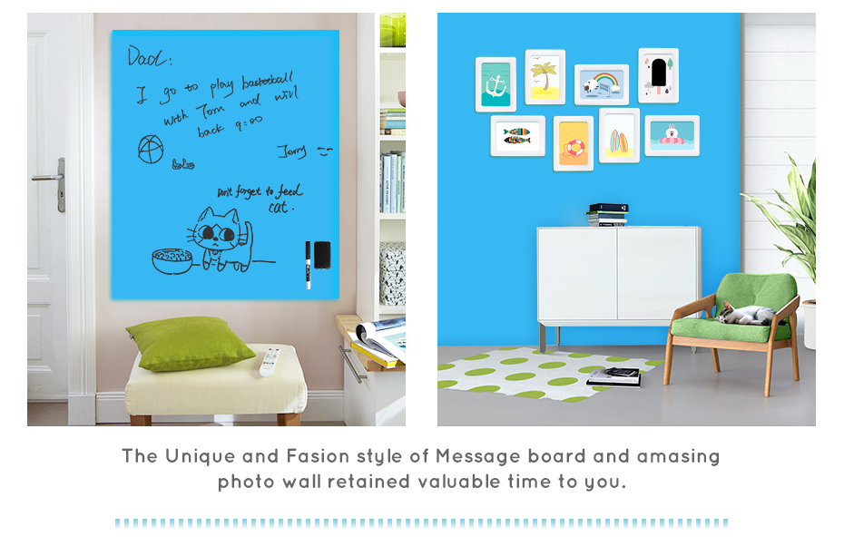 930_08 Flexible whiteboard Sticker Drawing Writing Board Kitchen Wall stickers Hold Magnets Home Wall Room Decor Blue Color