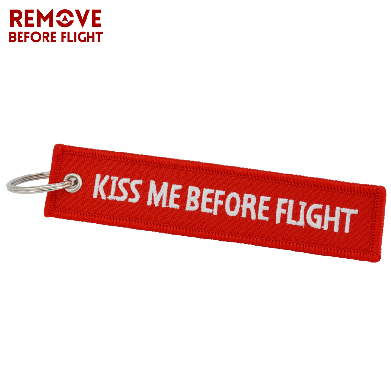 Kiss Me Before Flight Key Chain Label Red Embroidery Key Ring Special Luggage Tag Chain for Aviation Gifts Car Keychain Jewelry (2)