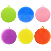 6 Colors Silicone Brushes Magic Dish Bowl Pot Pan Wash Cleaning Brushes Cleaner Sponges Scouring Pads Kitchen Cleaning Tools(China)