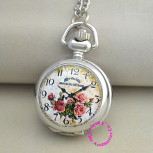 wholesale buyer price good quality silver enamel picture colorful flower pocket watch necklace antibrittle hour clock chain(China)