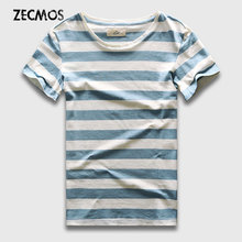 Zecmos New Men Stripe T-Shirt Fashion O Neck Short Sleeved Slim Fit Blue Striped T Shirt Man(China)