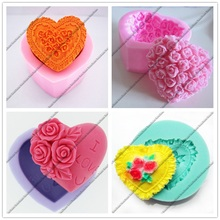4 Kinds For Choose Loving Flower Heart Silicone Molds Fondant Sugar Craft Cake Decorating Tools Wedding Decorating Soap Molds