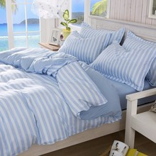 Polyester Fiber Bedding Set Korean Blue Stripe Printed Quilt Duvet Cover Bed Sheet Pillowcases Single Double Queen King Size