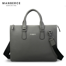 MANBERCE Men's Individuality Fashion Genuine Leather Brief Case Hand One Shoulder Diagonal Span Business Handbag(China)