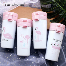 Transhome Thermos Bottle 400ml Cute Pink Flamingo Thermo Mug Vacuum Cup Stainless Steel Thermos Bottle Thermal Bottle Travel Mug(China)