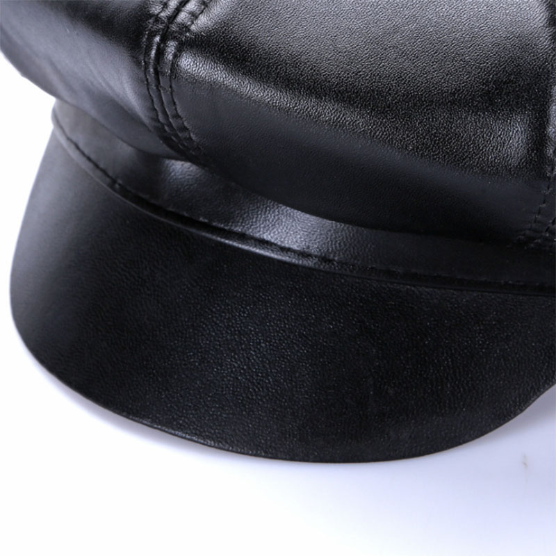 New Winter 100% Leather Beret, Hats for Women, Genuine Leather Berets, Octagonal Hats 25