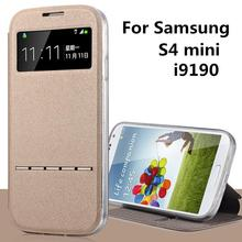 For Samsung GALAXY S4 mini Case i9190   cases Stent TPU leather Flip Window protect Cover 4s black SM i919 S 4 mini