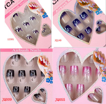 NEW 24pcs/box Fake Nails French Style Faux Ongles for Art Design Acrylic Nail Tips Colorful Come With Free Nails Glue(China)