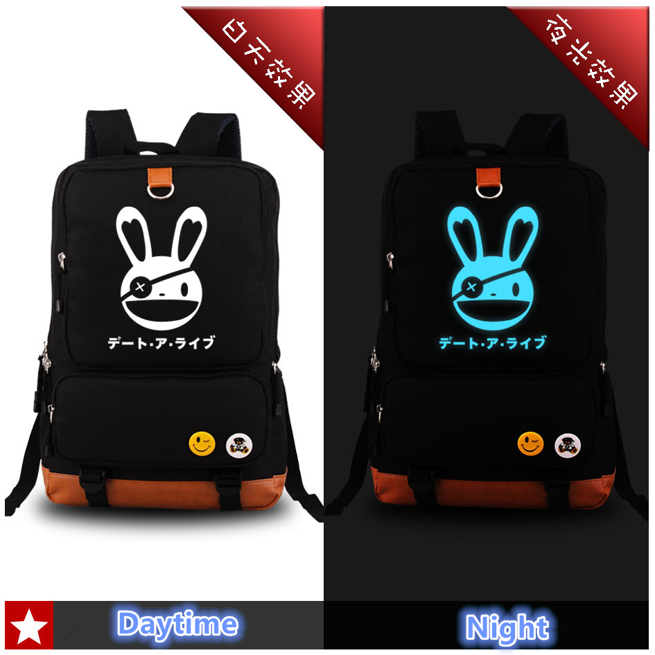 Anime DATE A LIVE Yatogami Tohka Cosplay Blue Luminous Printing Fashion Backpacks for Teenage Girls School Bags for Teenagers <br>