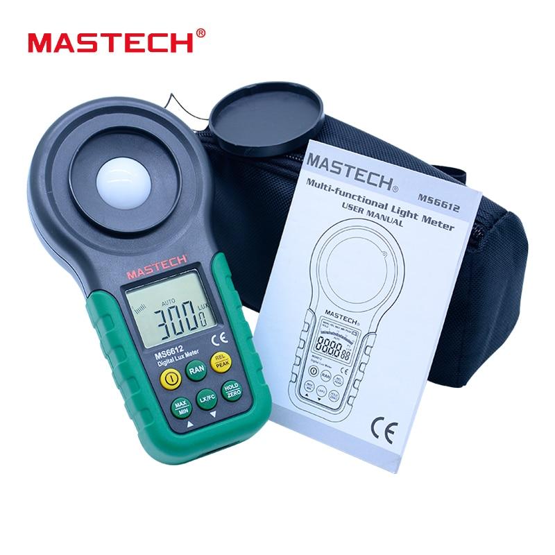 Mastech Lux meter MS6612 200,000 Lux Light Meter Test Spectra Auto Range High Precision Digital Luxmeter Illuminometer<br>