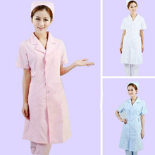 women Short-sleeve Medical Coat Clothing Physician Services Uniform Nurse Clothing Protect lab coats Cloth 3 color(China)