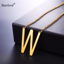 Choker Letter W Pendants&Necklaces For Women Men Stainless Steel Necklace Personalized Lucky Gift Alphabet Jewelry GP2623(China)