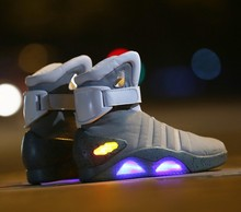 Cosplay Boots Back To The Future Led Light Shoes Air Mag Style Property Usa Fashion High Boots USB Charge(China)