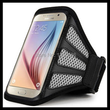 For Samsung Galaxy S6 Mesh armband Cell Phones Running Sport Armband Belt Bags Case Cover Earphone(China)