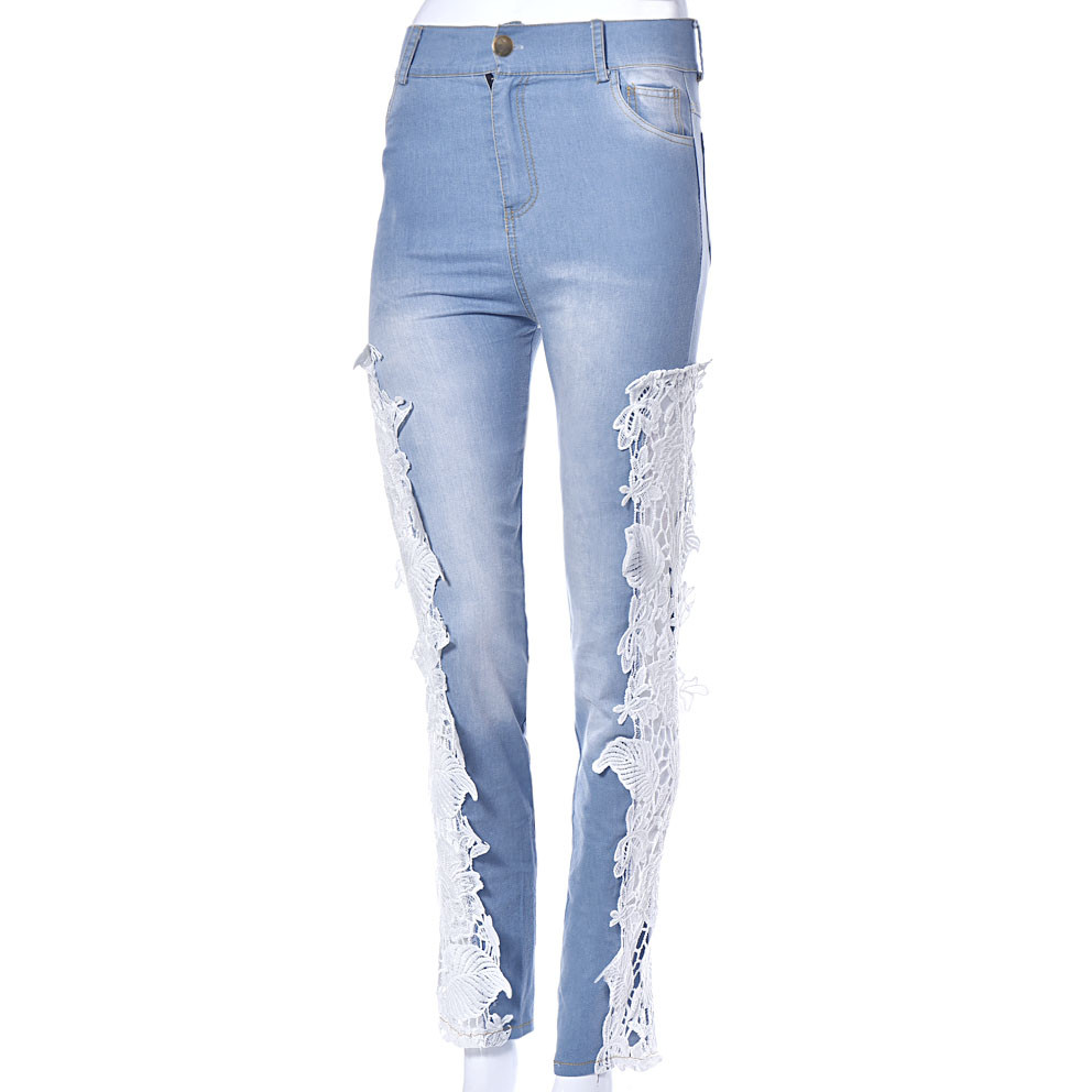 2017 Hot Women Sexy Summer Autumn Jeans High Waist Lace Hollow Floral Stitching Long Jeans Skinny Pencil Pant Denim High QualityОдежда и ак�е��уары<br><br><br>Aliexpress