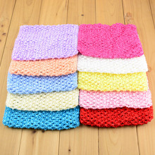 10pcs/lot Crochet Kids Tutus Tops Head Bands Headbands Girls DIY Dress Part Shipping 34 Colors H015(China)