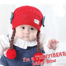 Beautiful Baby Hat New Toddler Girls Hats Flowers Braided Infant Caps Warm Girl Cap Thick Baby Beanies Winter Double Layer Hats(China)